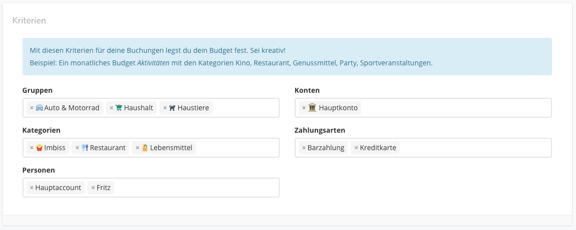 Budgets mit mehreren Kategorien, Gruppen, ...