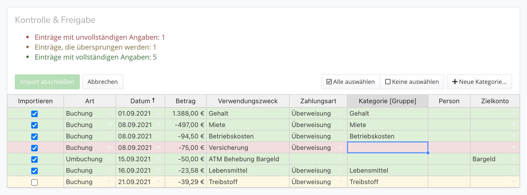CSV Kategorisierung
